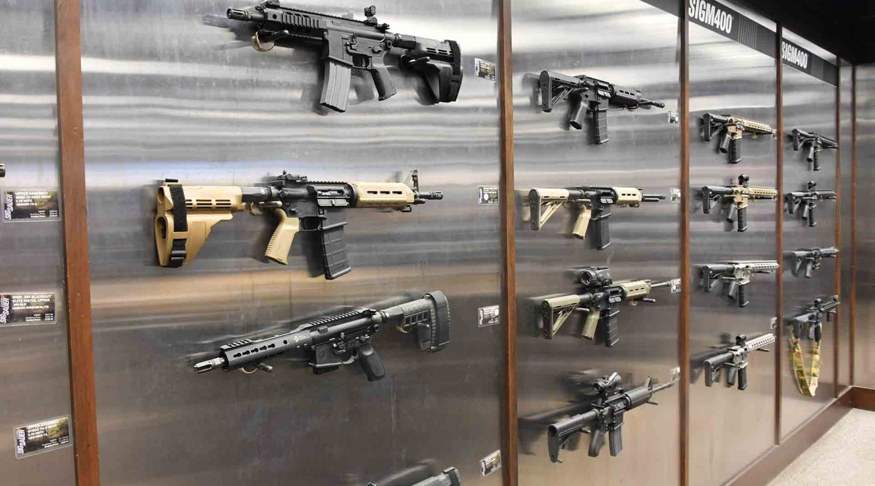 Firearms displayed at the Pro Gun Shop, SIG Sauer Academy
