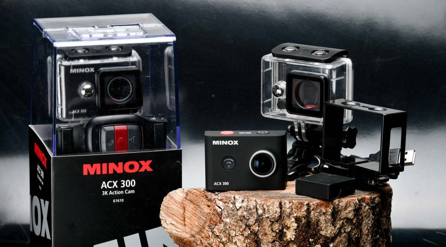 Minox ACX300 Action Camera and accessories